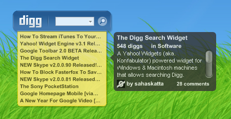 Digg Search Widget v2.00