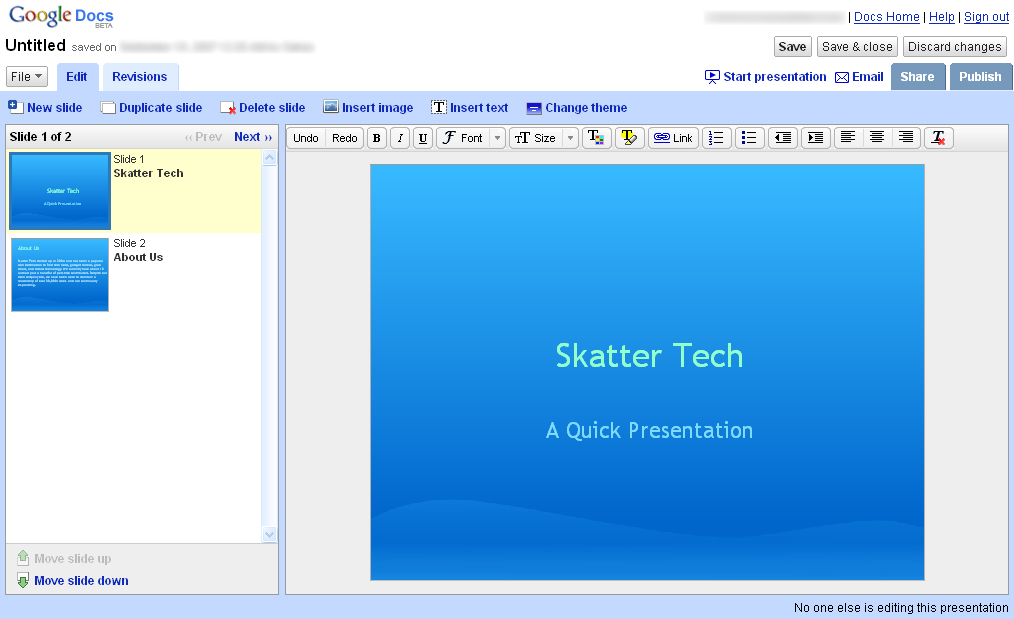 google presentation goes live skatter