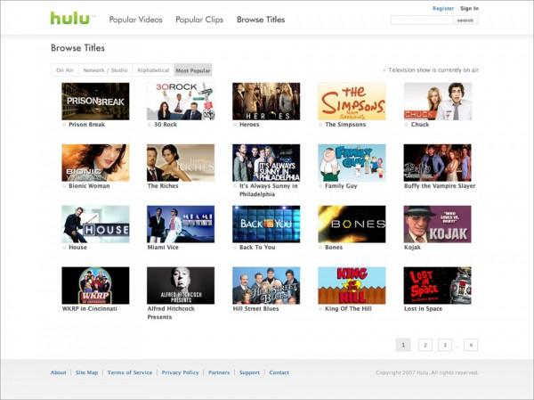 Hulu - Browse Page