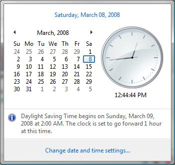 2008 Day Light Savings