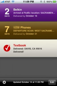 Delivery Status Touch: Home Screen