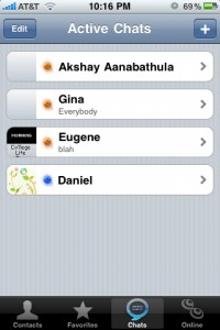 Trillian For iPhone: Active Chats