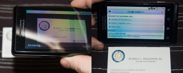 Google Goggles: Business Card