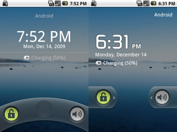 Motorola Droid Android 2.0.1 (Left = Old, Right = New)